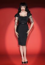 50s Deadly Dames Poison Ivy Pencil Dress in Black
