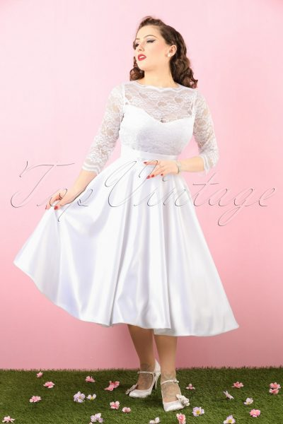 50s Collette Lace Bridal Dress In White
