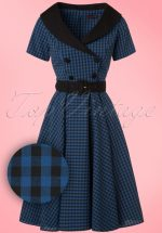 50s Bridget Gingham Swing Dress in Black and Navy