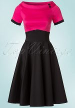 50s Darlene Swing Dress in Black and Hot Pink