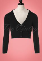 50s Shela Cropped Cardigan in Black