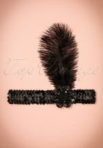 20s Zelda Sequins Feather Headband in Black