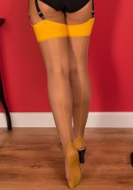 40s Retro Seamed Stockings in Mustard Yellow