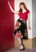 50s Flora Floral Thrills Skirt in Black