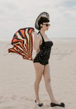 50s Zsa Zsa Gold Polkadot One Piece Swimsuit in Black