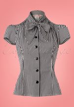 40s Estelle Candy Striped Blouse in Black and White
