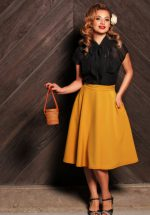 50s Beverly High Waist Swing Skirt in Mustard