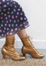 40s Frida Lace Up Booties in Gold |
