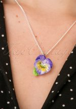 60s Porcelain Pansy Pendant Necklace in Purple