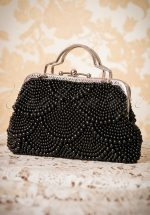 20s Agnes Beaded Handbag in Black