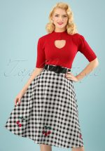 50s Cherry Vintage Gingham Swing Skirt in Black and White