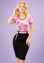50s Grease Pencil Skirt in Black and Pink