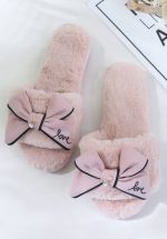 50s Pretty Bow Plush Slippers in Dusty Pink
