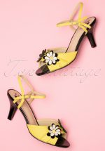 50s Dazed Blossom Sandals in Mustard and Black
