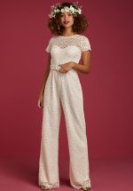 50s Betty Dentelle Wedding Jumpsuit in Cream