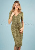 50s Anja Purr Pencil Dress in Posey Green