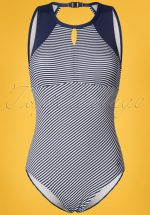 50s Loiza Stripes Swimsuit in Navy and White