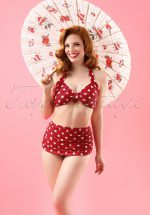 50s Classic Polka Bikini Top in Red and White