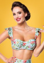 50s Bibi Birds Bikini Top in Mint