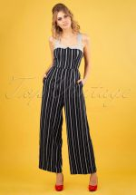 20s Summer Breeze Jumpsuit in Navy and Grey