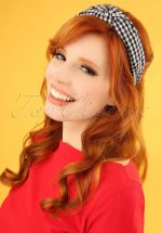 50s Gingham Head Band in Black and White
