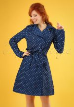 60s Spy of Love Trench Coat in Love Me Anchor Blue
