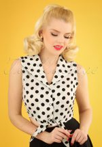 50s Polka Love Tie Top in Ivory White