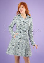 60s Spy of Love Trench Coat in Delft Porcelain Blue