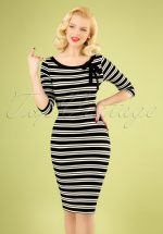 50s Janice Stripes Pencil Dress in Black and White
