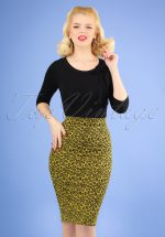 50s Charly Leopard Pencil Skirt in Mustard Yellow