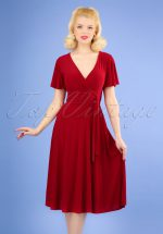 40s Irene Cross Over Swing Dress in Red