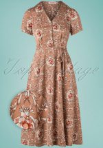 40s Verna Wildrose Midi Dress in Pink