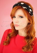 50s Dotted Head Band in Black