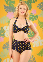 50s Classic Polkadot Bikini Pants in Navy and Yellow