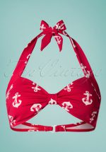 50s Classic Anchors Bikini Top in Red and White