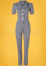 40s Classic Jumpsuit in Navy and White Stripes