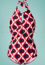 60s Norma Diamond Moon Swimsuit in Red and White