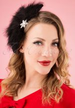 20s Sparkly Feather Fan Brooch and Hair Clip in Black