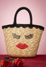 50s Lips and Lashes Wicker Bag in Natural