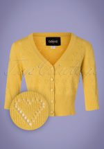 50s Evie Heart Cardigan in Yellow