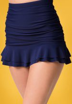 50s Alice Skirted High Waist Swim Bottom in Navy