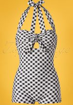 50s Garbo Halter One Piece Swimsuit in Gingham