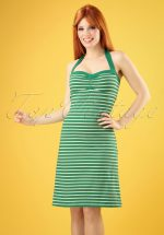 60s Lucy Breton Stripe Dress in Peapod Green