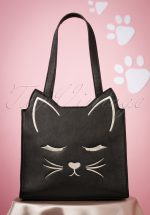 50s Flutter Lashes Kitty Handbag in Black