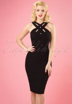 50s Lillian Cross Wiggle Dress in Black