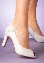 50s Leslie Leather Peeptoe Pumps in Pearl White