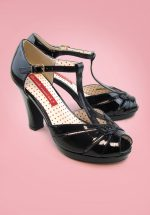 30s Lacey Art Deco T-Strap Pumps in Patent Black
