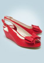 50s Jasmine Wedge Peeptoes in Red