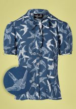 40s Lilou Swallow Blouse in Blue