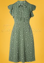 40s Florrie Polka Ruffle Dress in Vintage Green
